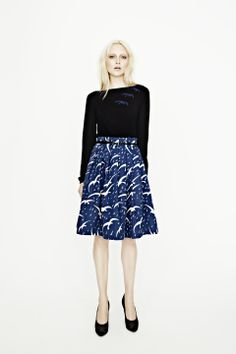 Collette Dinnigan / Autumn Winter 2012 / Dancing birds cotton skirt / I love how the sweater and skirt go together with the repeating bird pattern.