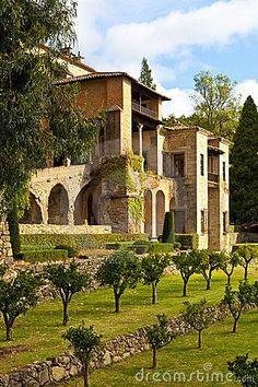 Medieval Monastery Gardens   Medieval Monastery Gardens   Yuste Monastery, Toledo Royalty Free ...