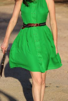 Parker Dress (also comes in coral) with Club Monaco Belt, Fendi Clutch