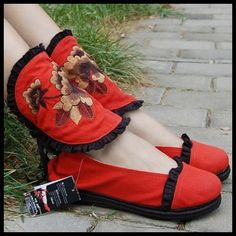 Bohemian ethnic embroidered cloth flats-red...from miyafeelings.com