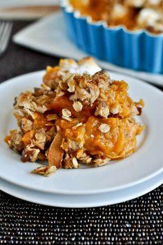 Lightened-Up Sweet Potato Casserole I howsweeteats.com