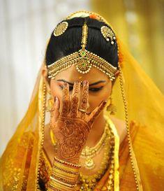 b'ful brides henna designs, indian weddings, indian wedding dresses, brides, hennas, south indian, indian bridal, yellow, indian bride