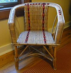 child-size wicker chair