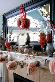 Valentine's Day Mantel Decorating