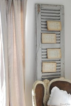 decor, christmas cards, books, old shutters, shutter idea, bathrooms, display, bedrooms, magazin