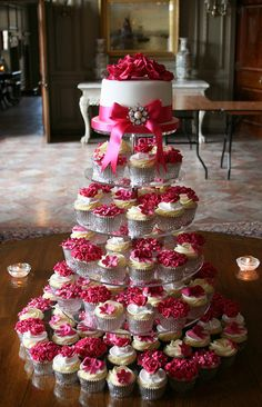 Hot pink wedding cupcake cake