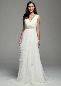 Envision yourself saying I do to the one you love in this stunning sheath gown!  Crinkle chiffon tank sheath gown features ultra-feminine v-neckline.  Empire waist is adorned with crystal beaded embellishmentthat flows into the draped front skirt.  Sweep train.  Limited online and in stores.  Fully lined. Back zip. Imported polyester. Dry clean only. To preserve your wedding dreams, try our Wedding Gown Preservation Kit.