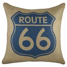 Lend a touch of country-chic appeal to your sofa or arm chair with this handmade burlap pillow, showcasing a road map motif in blue and beige.  Product: PillowConstruction Material: Burlap coverColor: Blue and beigeFeatures:  Road map motifInsert includedZipper enclosure Handmade by TheWatsonShop Made in the USA   Cleaning and Care: Spot clean only