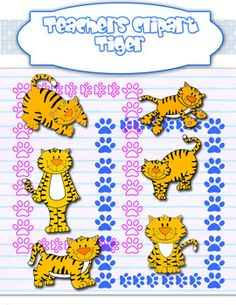 This set includes cute tigers in 6 diferent positions and 19 paws bordersLine art graphics included:::FOR COMMERCIAL USE:::...