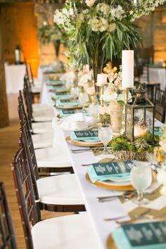 aqua and gold wedding reception, photo by Artistrie Co http://ruffledblog.com/watch-tower-lodge-wedding #weddingreception #tablescape