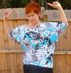 Turquoise Splash Print Knit Top size 1x / 2x by MrsSpookshow, $38.00