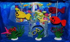 Shoe Box Ocean-themed Diorama with MOVING fish