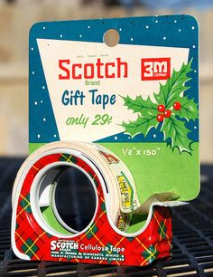 Scotch tape in a metal dispenser.