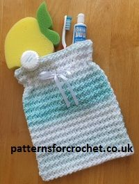 Free Sponge bag Crochet Pattern, from http://www.patternsforcrochet.co.uk/sponge-bag-usa.html lovely for everyday use or when you go away.