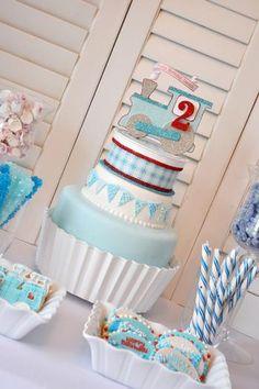 Baby boy train shower cake