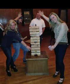 Who's up for a party game that actually creates the good times for your!! share the fun at your next event or bar which any lady or guy will love :) www.tumblingtowers.com