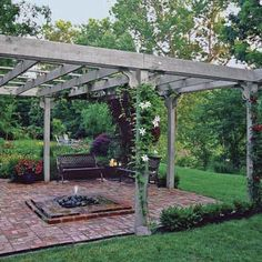 The beauty of a freestanding pergola is you don't have to anchor it to the house or move gutters. For additional coverage you can add a canopy of leafy vines or climbing roses, woven bamboo mats, sailcloth, or polycarbonate panels. |  Photo Richard Felber (Styling by Michelle Lay) | thisoldhouse.com