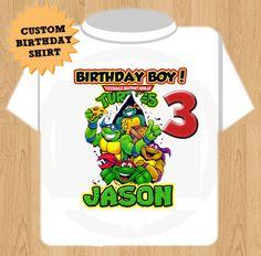 Teenage Mutant Ninja Turtles T Shirt - Custom Birthday Shirt. $15.00, via Etsy.