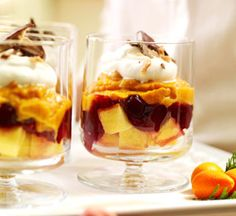 Pumpkin Trifle: Packaged ingredients, such as canned pumpkin, frozen pound cake, canned cranberry sauce, candy bars and instant pudding mix, help speed prep time.