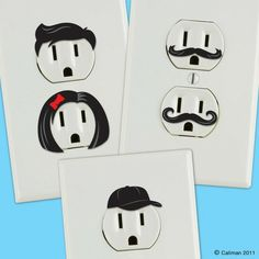 Outlet stickers. Because who doesn't want their outlets to look horrified and appalled at their behavior. lol for that lamp
