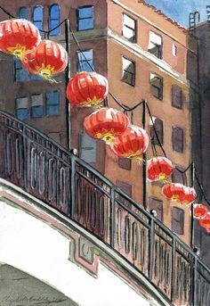 The International Bridge on the Country Club Plaza with Chinese Lanterns #kansascity