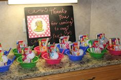 Oh how cute are these pajama party favors! Take home cereal bowl, milk and mini boxes of cereal with a spoon?!! Fantastic idea!