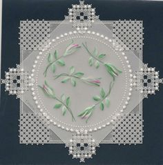 By Carolyn C. Pergamano Parchment Craft card.  Pintura paint and gridwork.  Pattern by Kannikar Sukseree, Amazing Brushstrokes.
