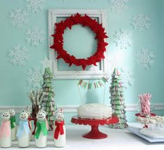 Everything about this cute Christmas seen is so fun and upbeat. #Christmas #winter #decor #decorations #ornaments #snowmen #wreath #red #pink #aqua #blue #green #tree #cake  #party #food #table