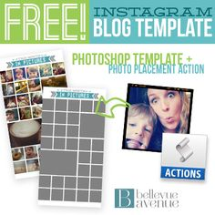 FREE Instagram Blog Collage Kit! Included is a Photoshop Collage Template and Photoshop Action to make placing photos easy as pie! #instagram #blog #photoshopaction #free