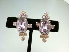 Beautiful vintage Lilac Rhinestone Earrings