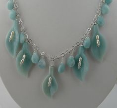 Graceful and Elegant Handmade Amazonite Calla Lily, Briolette and Sterling Silver Necklace from Malibu Jewelry Arts on Ruby Lane