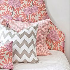 Mix patterns - 2/3 there with chevron and flowers.  Need third for curtains.
