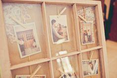 Vintage windowpane photo display