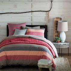 Sunrise Stripe Duvet Cover + Shams from west elm - I don't mind this pink.. weird.