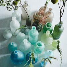 Salt-blasted glass vases in sea colors.