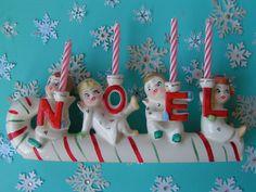 Vintage Ceramic NOEL Angel Candle Holder