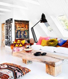 Dream Coffee Table boho chic, coffee tables, living rooms, color, floor pillows, white walls, wood tables, cushion, wooden tables