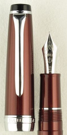 Sailor Sapporo Pearl Red Special Edition with 14k Saibi Togi Nib. Sailor bids farewell to the Saibi Togi, its now discontinued super extra fine nib size, with this unique special edition fountain pen. Metallic crimson finish and rhodium trim combine with the novelty of a 14k Saibi Togi nib, previously available only in 21k, to make this a writing instrument that will become an instant collectors item for Sailor aficionados. Only $310.