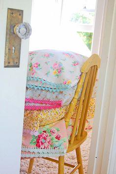 Via Rose Hip on Flickr. Lovely crochet edged cushion covers