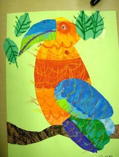 Zilker Elementary Art Class two exotic birds, parrots and toucans? Rain forest art?