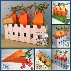 Carrot Patch Box    Treat box in the shape of a carrot comes with a stand to hold 3 carrots upright and surrounded by a picket fence.