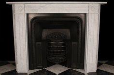 Georgian Bullseye Fireplace Surround High Quality Italian White Carrara Marble
