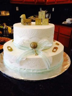 Vintage baby shower cake!  See more party planning ideas at CatchMyParty.com!