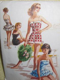 Vintage 1956 McCalls Swimsuit Pattern 3654