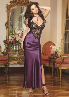 8461 To Have And To Hold Charmeuse Satin And Lace Long Bridal Nightgown With Criss-Cross Straps And Low Back by Dreamgirl | Now That's Lingerie | Sizes: S to XL | $48.00 USD