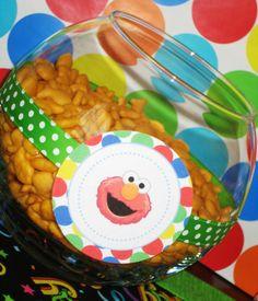 elmo bowl w/ribbon & tag