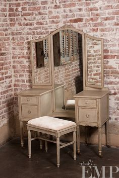 vintage vanity table and bench