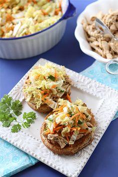 Slow Cooker Hoisin Shredded Chicken Sandwich Recipe with Asian Slaw | cookincanuck.com #slowcooker #crockpot #chicken #superbowl