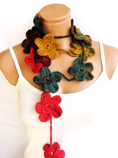 Hand made crochet multicolor Flower Lariat by WomanStyleStore, $25.00