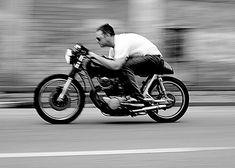 A motorcyclist.